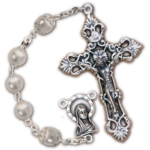 Silver Oxidized White Glass Pearl Filagree Rosary