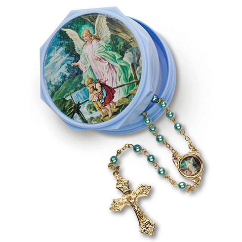Baby Boy's First Guardian Angel Rosary in Blue