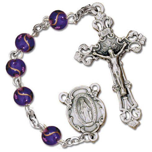 Silver Oxidized Amethyst Speckled Bead Rosary