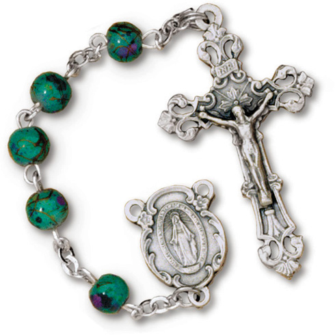 Silver Oxidized Green Speckled Bead Rosary
