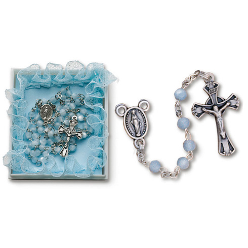 Pewter Baby Boy's First Deluxe Rosary in Blue