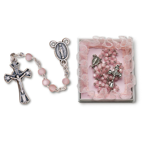 Pewter Baby Girl's First Deluxe Rosary in Pink