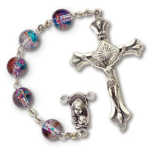 Silver Oxidized Multi-Colored Light Crucifix Rosary