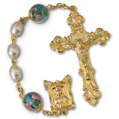 Gold Plated Pearl and Blue Rose Bead Rosary