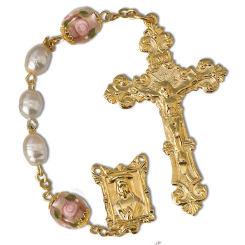 Gold Plated Pearl and Pink Rose Bead Rosary