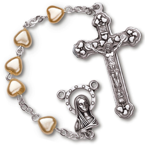Silver Oxidized Heart Glass Pearl Rosary
