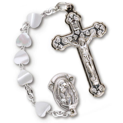 Silver Oxidized Heart Mother of Pearl Rosary