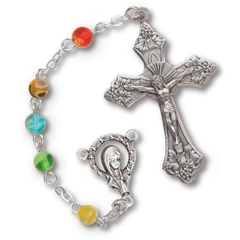 Silver Oxidized Floral Rosary Multi-Colored