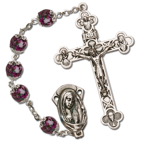 Silver Oxidized Amethyst Bead Four Way Rosary