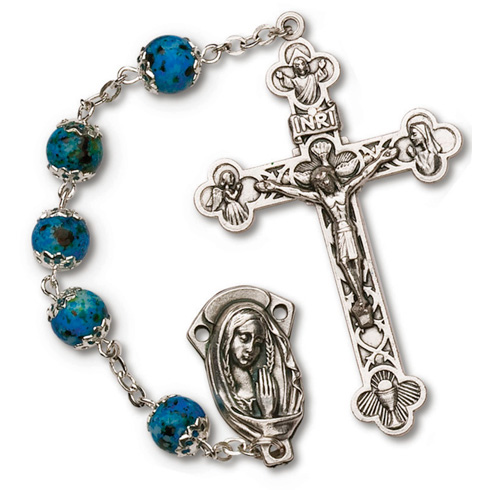 Silver Oxidized Blue Bead Four Way Rosary