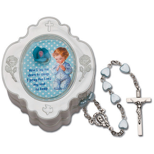 Baby Boy's First Heart Rosary in Blue