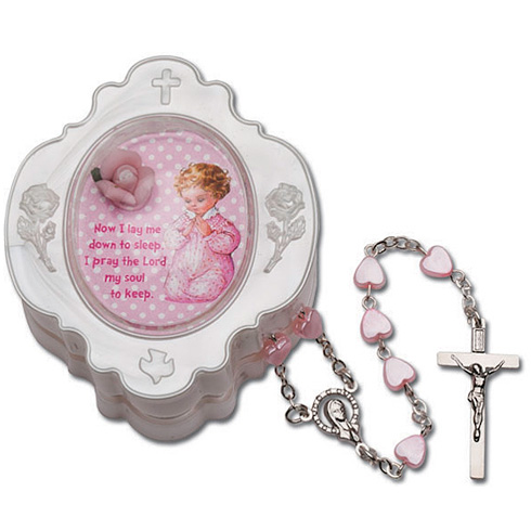 Baby Girl's First Heart Rosary in Pink