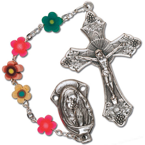 Silver Oxidized Flower Bead Floral Crucifix Rosary