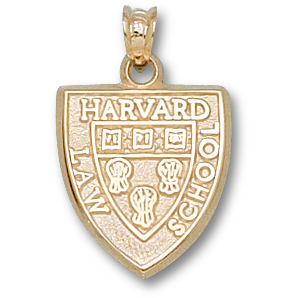 Harvard Law 5/8in Shield Pendant 10kt Yellow Gold