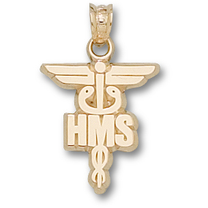 Harvard Medical 5/8in Caduceus - 14kt Yellow Gold