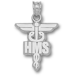 Harvard Medical 5/8in Caduceus - Sterling Silver