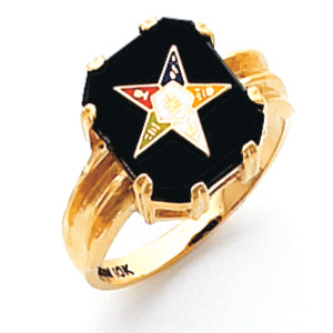 Oblong Eastern Star Ring - 14k Gold