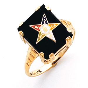 10kt Yellow Gold Rectangular Black Onyx Eastern Star Ring