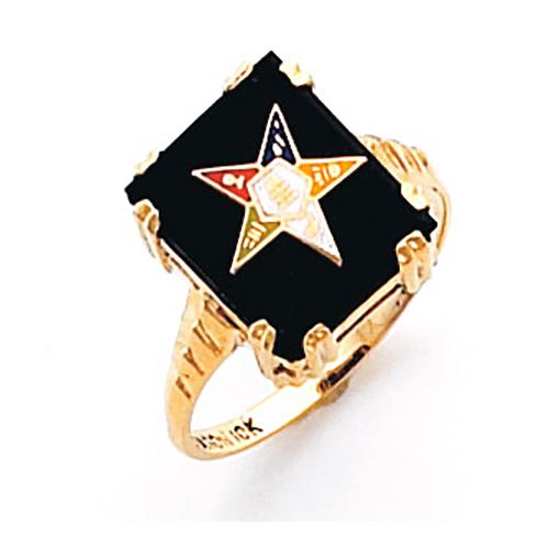 14kt Yellow Gold Rectangular Black Onyx Eastern Star Ring
