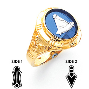 14kt Yellow Gold Past Master Mason Ring with Tapered Shank