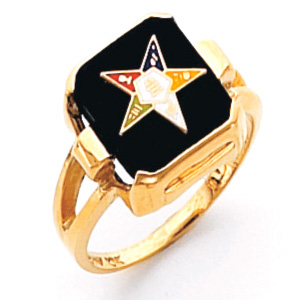 Square Eastern Star Ring - 14k Gold