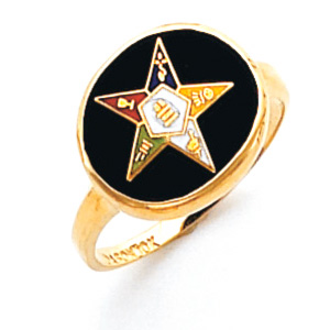 Oval Eastern Star Ring - 14k Gold