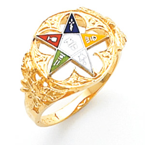 10kt Yellow Gold Eastern Star Ring with Ornate Cut-Out Top