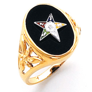14kt Yellow Gold Oval Eastern Star Ring