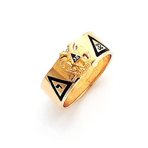 14kt Yellow Gold 8mm Scottish Rite 32nd Degree Ring