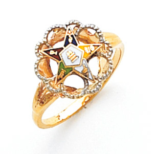 10kt Two Tone Gold Eastern Star Ring with Scalloped Design