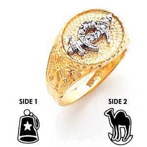 Diamond Shriners Ring - 14k Gold
