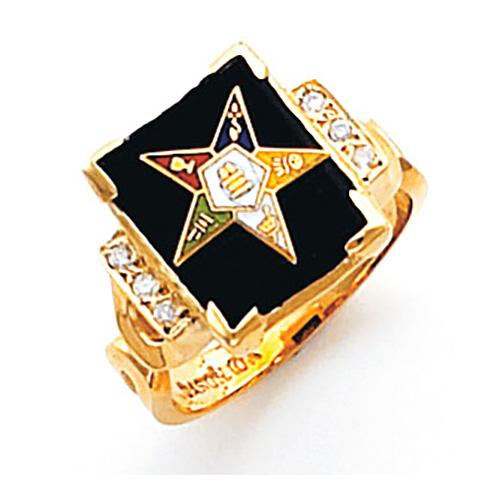 10k Gold Diamond Eastern Star Ring