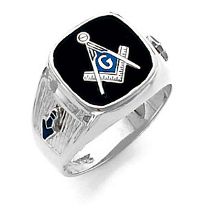 10kt White Gold Harvey & Otis Blue Lodge Ring with Wide Shank