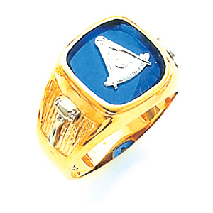 14kt Yellow Gold Past Master Ring with Wide Grooved Shank