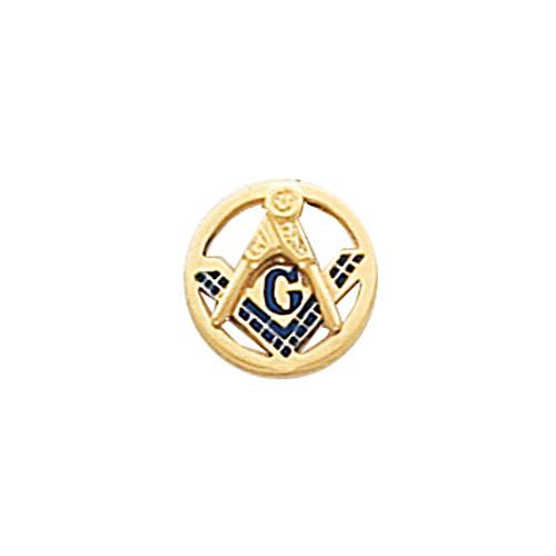 10k Yellow Gold Round Enameled Masonic Tie Tac