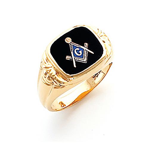 14kt Yellow Gold Harvey & Otis Fancy Tapered Masonic Ring