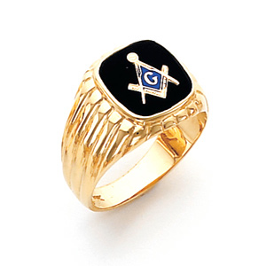 10kt Yellow Gold Harvey & Otis Masonic Ring with Grooves