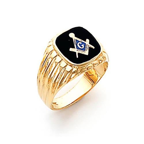 14kt Yellow Gold Harvey & Otis Masonic Ring with Grooves