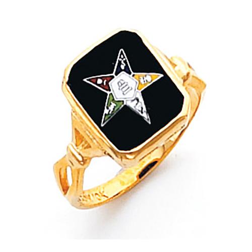 Rectangular Eastern Star Ring - 10k Gold