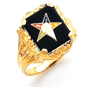 Rectangular Eastern Star Ring - 14k Gold