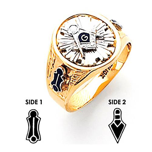 Round Blue Lodge Ring - 14k Gold