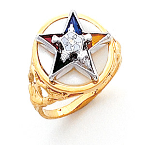 Round Eastern Star Ring - 14k Gold