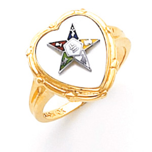 14kt Yellow Gold Heart Eastern Star Ring with White Top