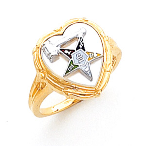 10kt Yellow Gold Past Matron Eastern Star Heart Ring with White Top