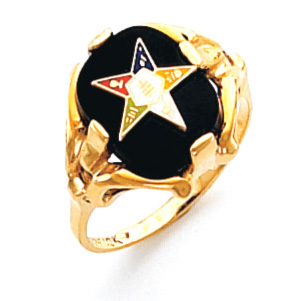 Oval Eastern Star Ring - 10k Gold