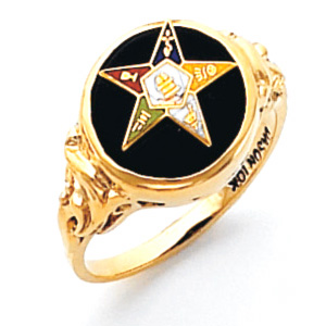 Round Eastern Star Ring - 14k Gold