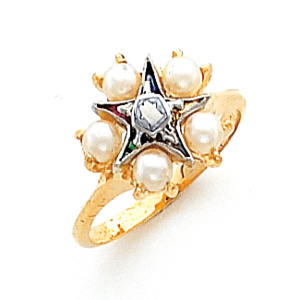 Pearl Eastern Star Ring - 10k Gold