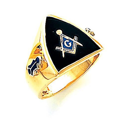 Jumbo Shield Blue Lodge Ring - 10k Gold
