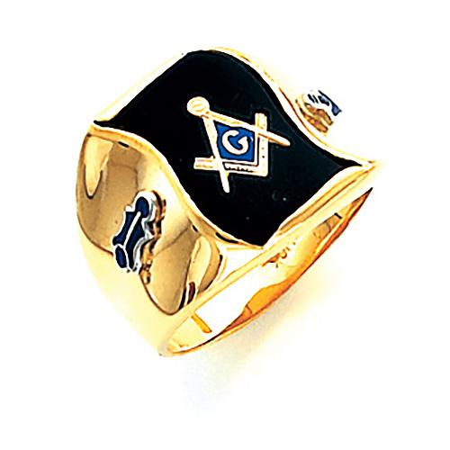 14kt Yellow Gold Wavy Jumbo Masonic Ring