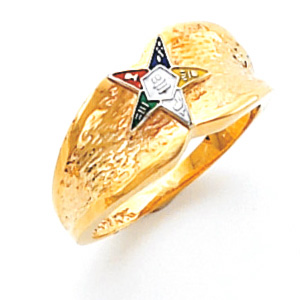 14kt Yellow Gold Concave Eastern Star Ring